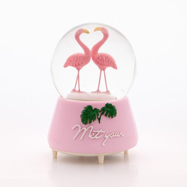 Kurmalı Müzikli Dönen Pembe Flamingo Kar Küresi
