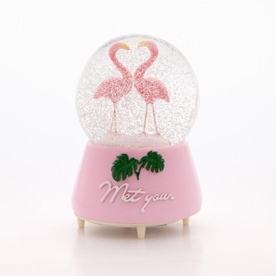 Palmiyeli Pembe Flamingo Sevgililer | Kar Küresi